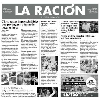 """PAPEL PERIÓDICO """"LA RACIÓN"""" - 100% CHEF"""